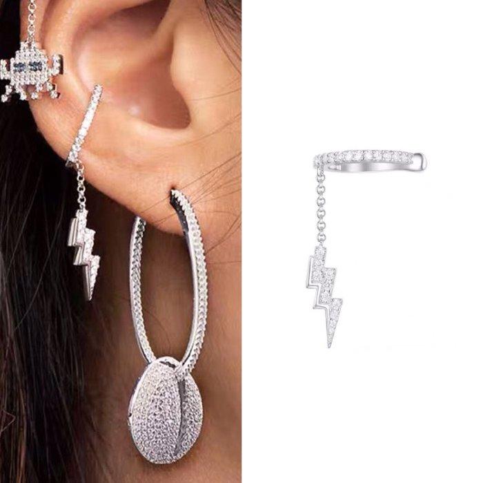 💎1153、80s小怪獸系列 女伶細膩明媚閃電輕奢耳骨夾💎正韓飾品 耳環 珠寶 925純銀針 ED087