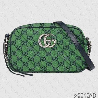 【WEEKEND】 GUCCI GG Marmont Small 小款 山形紋 肩背包 相機包 綠色 447632