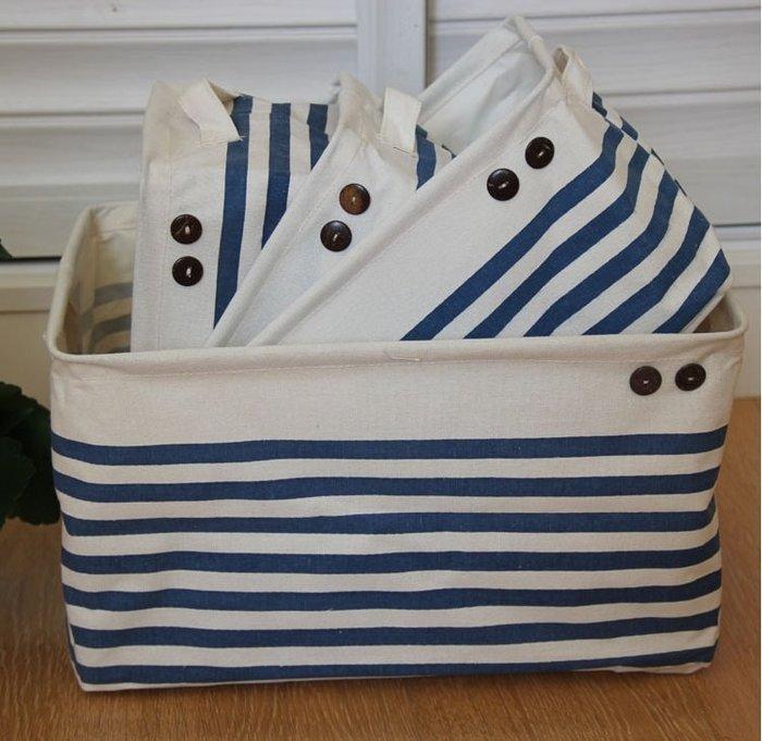 【愛麗絲生活家飾雜貨】zakka居家收納地中海藍白條紋棉麻收納袋/雜物箱/置物袋(大款下標區)