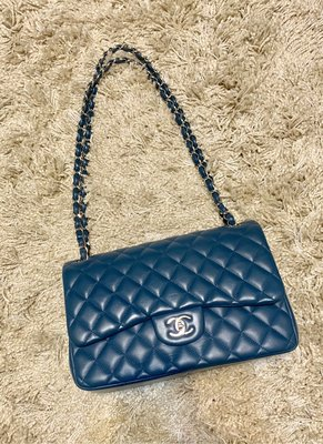 CHANEL Coco Jumbo Double Flap 經典極美羊皮銀釦Coco 30