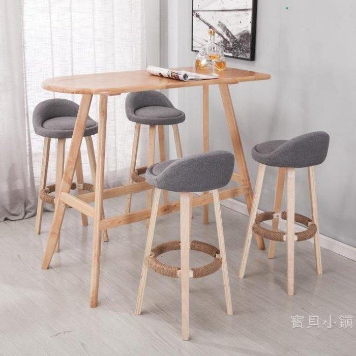 實木美式酒吧椅高腳凳吧凳北歐式靠背椅咖啡廳創意網紅簡約吧台椅BBXZ17827
