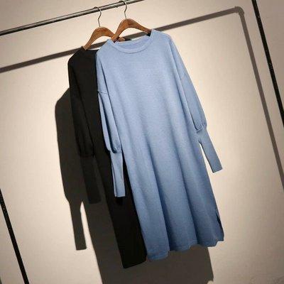 Thick girl中大尺碼女裝服飾。❤簡約舒適素色縮口針織連身洋裝