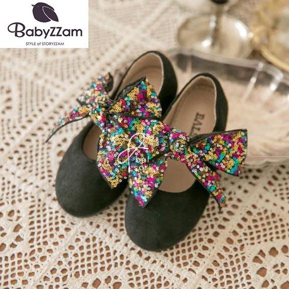 『※妳好,可愛※』妳好可愛韓國童鞋 BABYZZAM~正韓 義式風情亮片蝴蝶結娃娃鞋 亮片娃娃鞋