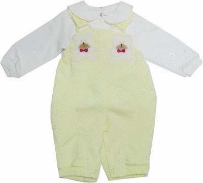 可愛寶貝---◎◎全新上衣+小熊繡花吊帶褲--- 中厚◎◎☆☆