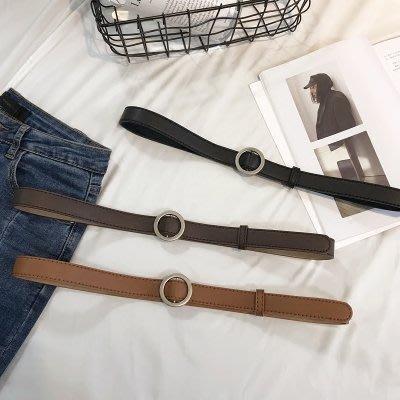 買一送一 無孔圓扣學生皮帶女韓版時尚裝飾簡約百搭韓國細腰帶褲帶潮黑色