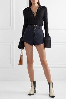 ELLERY 高腰 拉鏈 毛料 短褲