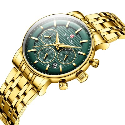 【潮裡潮氣】Reward /瑞沃達鋼帶多功能運動手錶防水三眼六針帶日曆女錶RD81006L