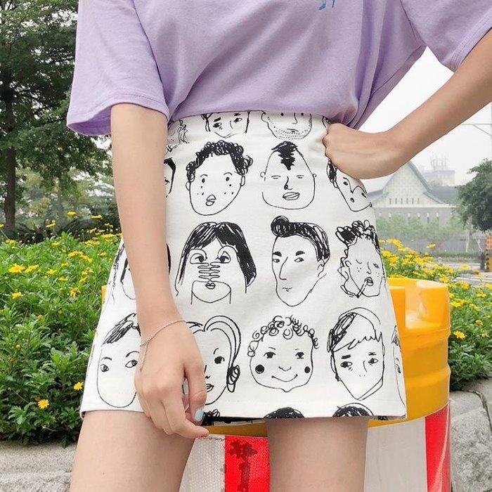 ulzzang裙子女夏裝2018新款韓版顯瘦百搭學生印花人頭高腰短裙潮