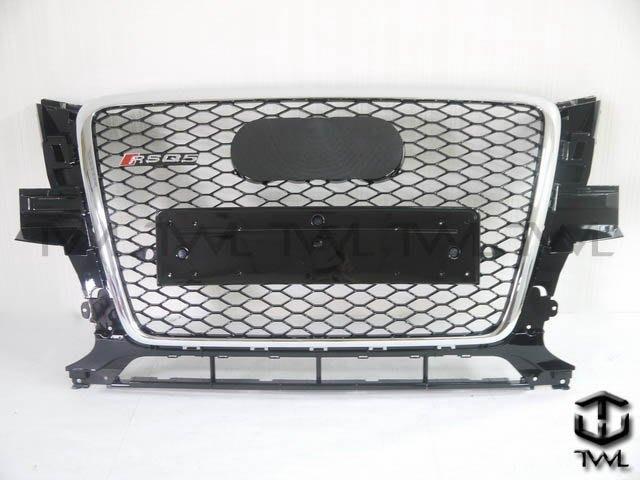 《※台灣之光※》全新AUDI Q5 11 12年新款RS RSQ5樣式改蜂巢電鍍框黑網水箱罩