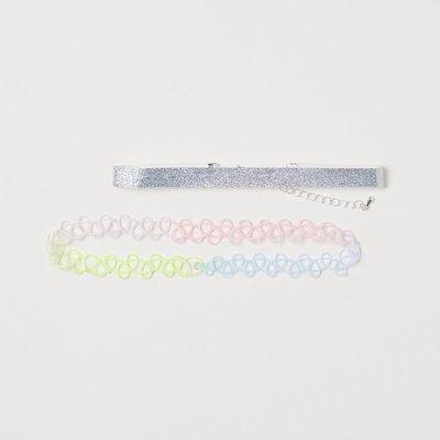 正品 H&M 女童彩虹/雷射光頸鍊 choker[2件組]