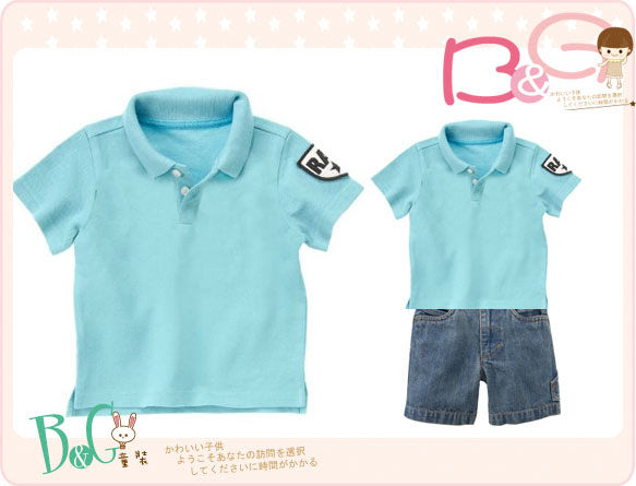【B& G童裝】正品美國進口Crazy8 藍色網狀短袖polo衫18-24mos,5yrs