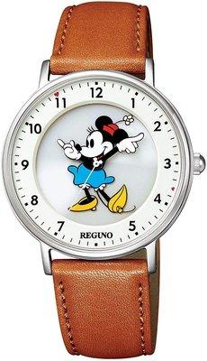 日本正版 CITIZEN 星辰 REGUNO 迪士尼 米妮 KP3-112-12 手錶 太陽能充電 皮革錶帶 日本代購