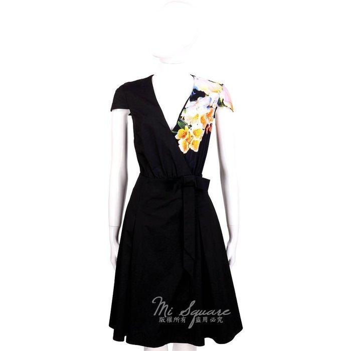 米蘭廣場 CLASS roberto cavalli 黑色印花設計腰間蝴結飾V領短袖洋裝 1420092-01