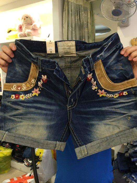 【江南小舖】正韓---Lolita定腰式口袋滾邊繡花牛仔短褲***特價出清