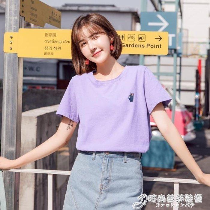 夏裝純棉短袖T恤女正韓刺繡學生寬鬆百搭紫色上衣服潮