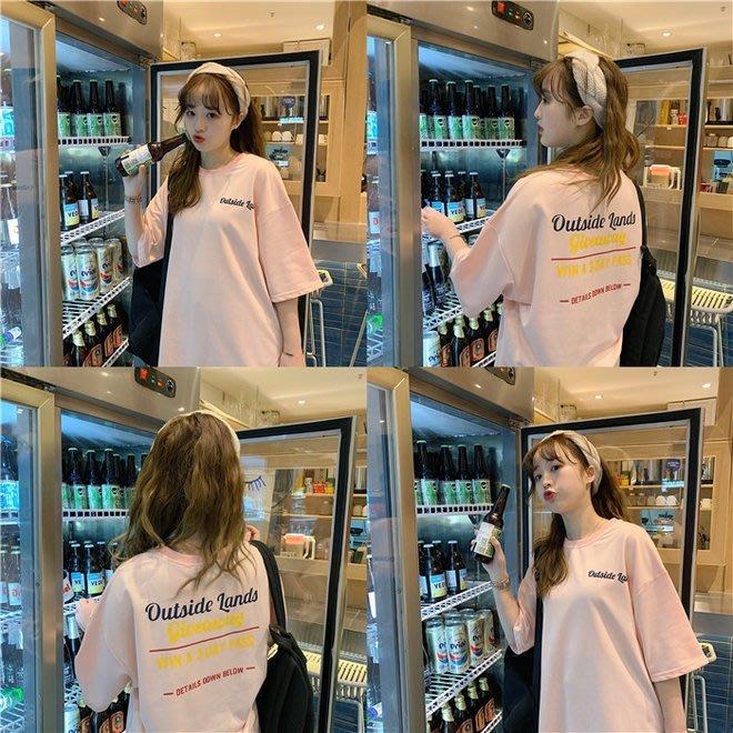 FINDSENSE G6 韓國時尚潮流  2019夏季新款粉色前後印花T恤寬鬆短袖TEE女裝上衣T恤