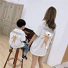 ✿Lu girl 親子裝短袖T上衣男女童夏裝新品兒童寶寶后背小熊T恤洋氣寶寶衣服JU19