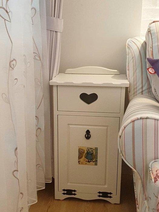 實木垃圾桶 可愛貓頭鷹(磁磚隨機)磁磚烤白色全實木垃圾桶  電話櫃  收納櫃  垃圾櫃