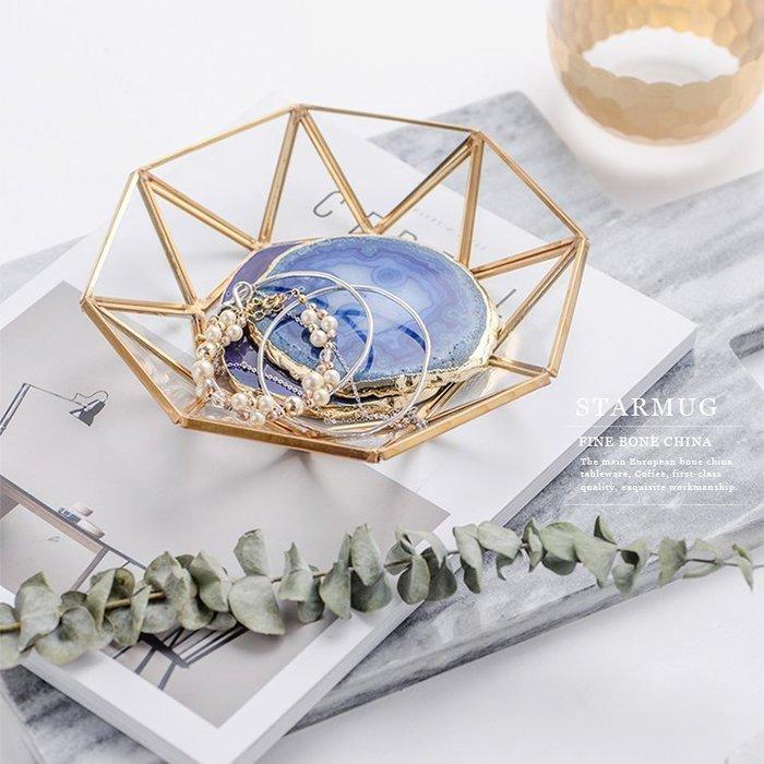 MAJ.POINT-托盤 復古鏡面 金色 珠寶 蠟燭 八角圓盤玻璃 飾品收納盤 展示 INS 歐式現代 美食 道具