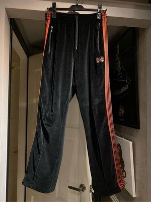 二手 needles track pants 天鵝絨 黑橘