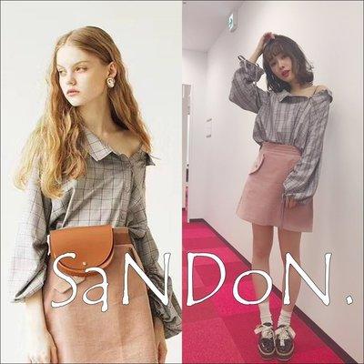SaNDoN x『REDYAZEL』【雑誌掲載】復古單肩格紋襯衫上衣 SLY 韓妮  180305