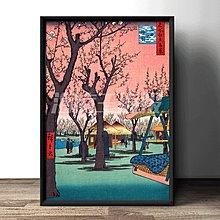 復古簡約裝飾畫日本戰國浮世繪水墨畫海報定做臥室掛畫定制
