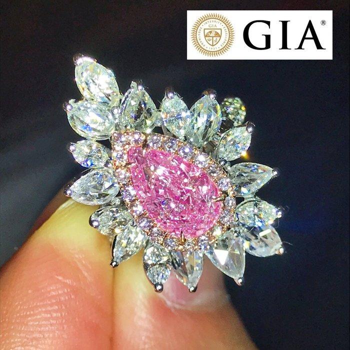 已賣新北市何S【台北周先生】天然粉紅色鑽石 罕見巨大2.02克拉 18K金 豪華美戒 送GIA證書