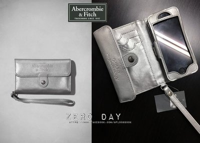 A&F Abercrombie&Fitch Cell Phone Wristlet IPHONE 5S皮質卡夾手機套包銀