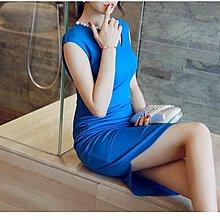 OL職服 韓最新款! C80140#模特實拍*韓版修身無袖訂珠包臀連衣裙-寶藍L現