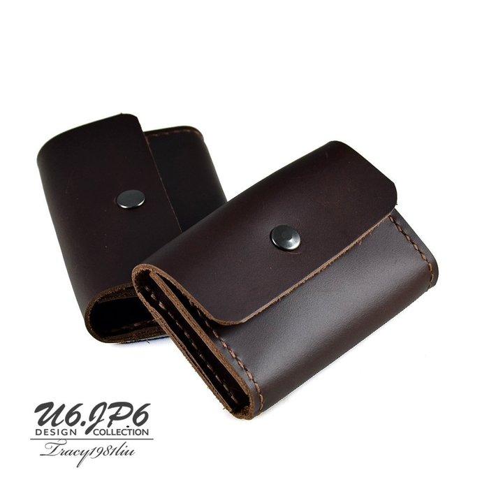 【U6.JP6 手工皮件】-純手工縫製進口牛皮天然手作皮革縫製 .零錢包 / 卡片包/萬用包 (男女都適用)