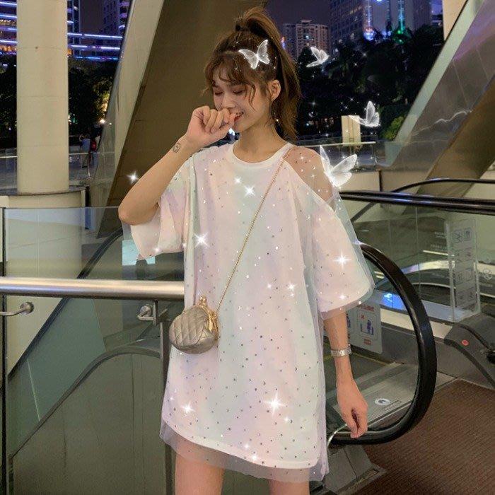 小香風 短袖T恤 時尚穿搭 女裝 韓版 個性拼接網紗寬松星星上衣小心機中長款短袖t恤學生