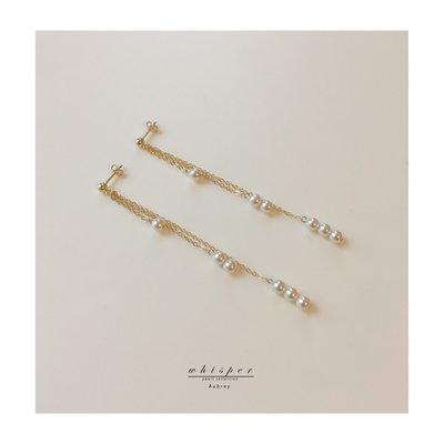 Summy的賣場「切切私語」pearl earring 14K包金925純銀搖曳珍珠流蘇耳釘耳夾