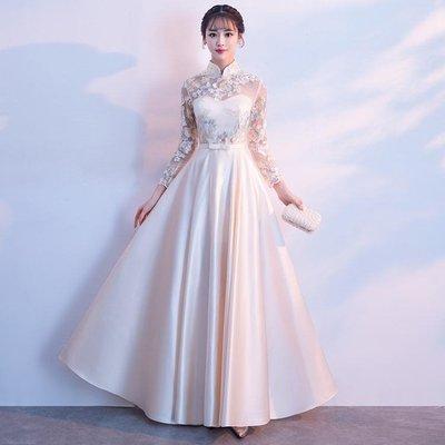 中式晚禮服女秋冬季長袖宴會改良旗袍主持人長款連身裙-小精靈生活館