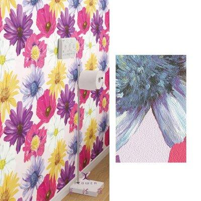 【夏法羅 窗藝】日本進口 時髦前衛 繽紛色彩 花朵圖案 壁紙 BB_171385