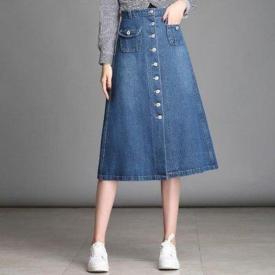 A字裙 單排扣牛仔裙韓版顯瘦牛仔半身裙中長款高腰學生裙 df3142【秀秀生活】