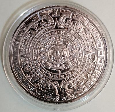 瑪雅日晷鍍銀紀念章1枚。---(合金鍍銀-紀念章不是金幣不是銀幣)