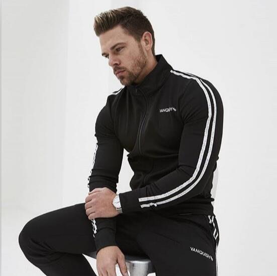 運動外套休閑時尚兩道杠立領衛衣拉鏈衫男籃球服健身訓練上衣—莎芭