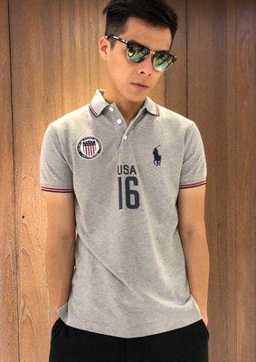 美國百分百【全新真品】Ralph Lauren Polo衫 RL 小馬 短袖 USA16 國家隊 特別款 灰色 I794