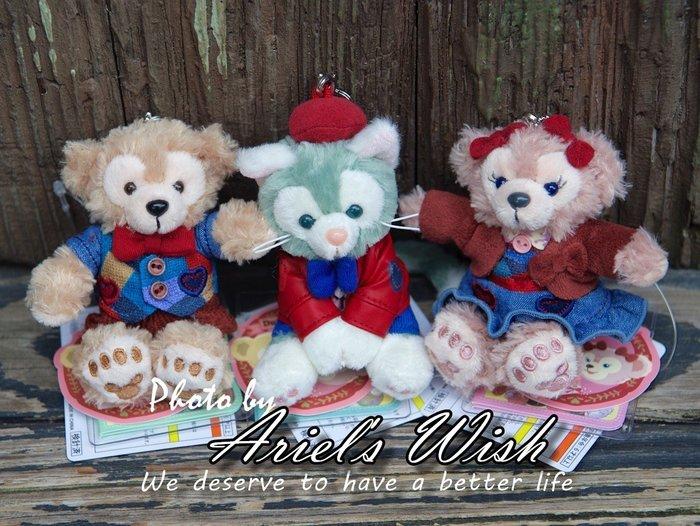 Ariel's Wish-日本東京迪士尼Duffy Shelliemay達菲熊雪麗玫情人節牛仔坐姿珠鍊吊飾包包別針掛飾