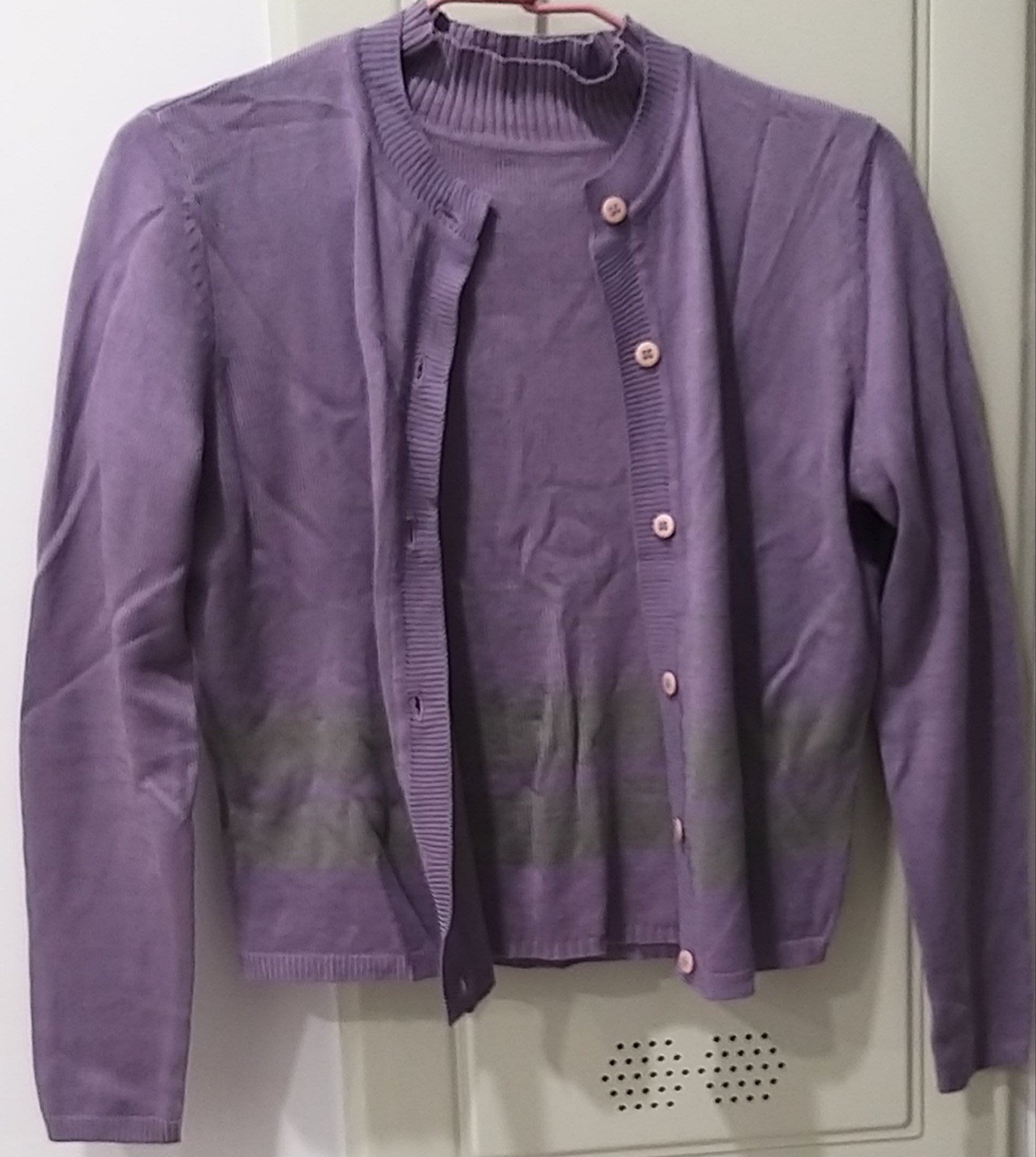 RESERVED 紫色 二件式針織 外套 + 立領短袖上衣 歐碼 38號/M號 181元起標