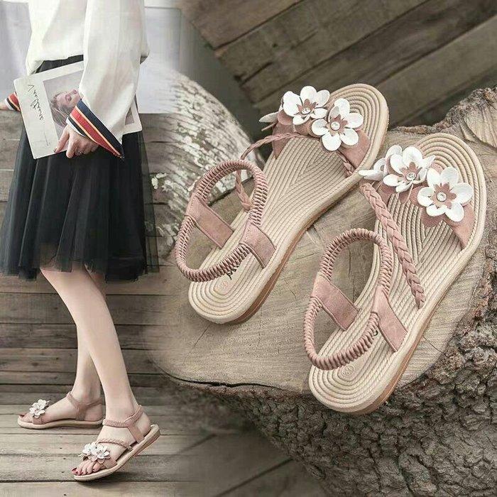 夏日氣質花朵涼鞋