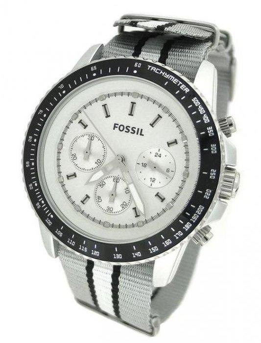 現貨【FOSSIL- JR1125】100% 全新正品 時尚 運動休閒 三眼錶 名錶.手錶 / 銀色【防水100米】