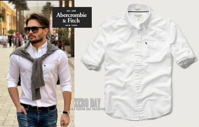 A&F Abercrombie&Fitch Muscle Fit Iconic Oxford Shirt麋鹿牛津白襯衫
