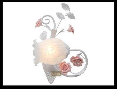 凱西美屋 田園手工陶瓷玫瑰單頭壁燈 鏡前燈 床頭壁燈