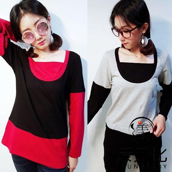 漾貝比中大碼【99838】配色短袖T假兩件式上衣.黑灰/紅黑