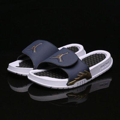 Jordan拖鞋 男款 運動拖鞋 魔術扣 大碼拖鞋 藍黑 喬丹拖鞋 AJ5 家居拖鞋 涼鞋 沙灘鞋 NIKE拖鞋 懶人鞋