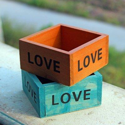 廠家直銷zakka多肉種植木盒 LOVE正方形復古木制桌面小飾品收納盒一品閣