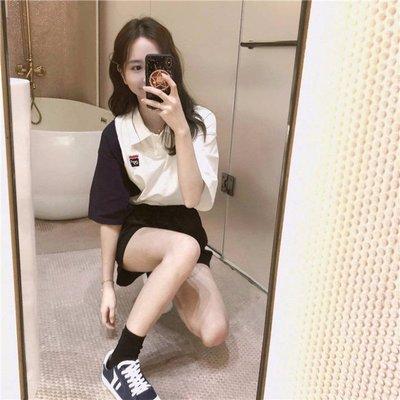 夏季新款t恤女polo短袖女翻領學生上衣洋氣百搭韓版潮ins半袖-微利雜貨鋪-可開發票