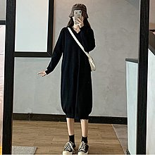 Amybetty新品正韓女裝春季大碼女裝胖妹妹2021年新款針織法式復古中長款毛衣連帽連身裙