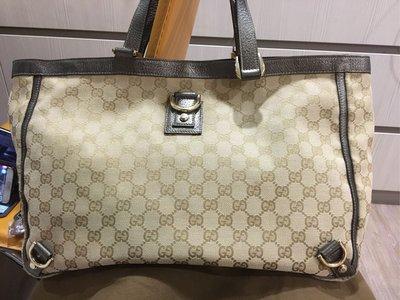 Gucci 緹花布古銅綠雙手把 手提包 購物包 媽媽包